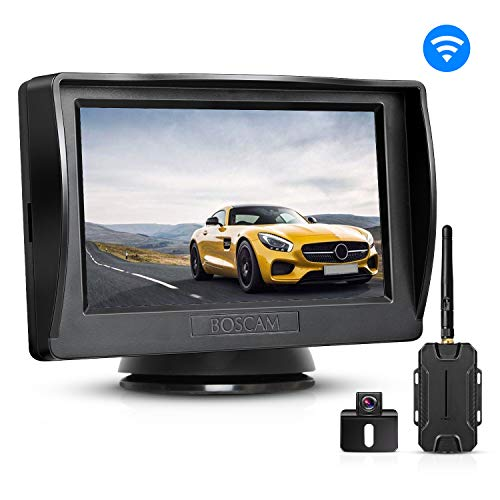BOSCAM Rückfahrkamera und Monitor Set K1 Wireless Einparkhilfe mit 14.4 cm/4.3' Zoll LCD Farbdisplay Rear View Monitor und IP68 wasserdichte Kamera für Auto, Bus, Schulbus, Anhänger