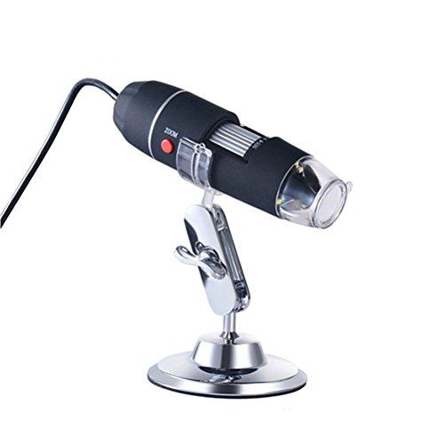 UEETEK Portable USB Digital Mikroskop 40X-1000X Elektronenmikroskop mit 8 LED-Licht und Silber Halterung