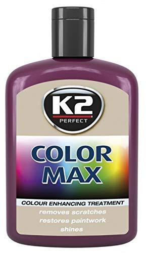 K2 Color Max Farbwachs Lack Polish Regenerator Glanz, Kratzer abdecken, Rotwein