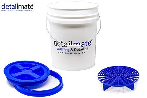 detailmate Profi Set Auto Reinigung GritGuard: Wasch Eimer 5 GAL (ca. 20 Liter) / Gamma Seal Eimerdeckel blau/Einsatz blau