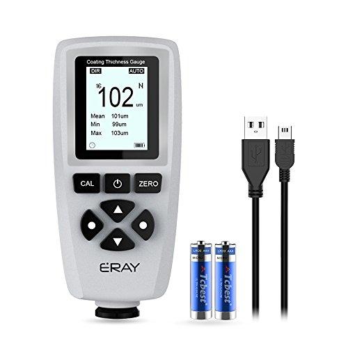 ERAY Schichtdickenmessgerät mit Hintergrundbeleuchtung LCD-Anzeige, inklusive Koffer, Batterie und Deutscher Anleitung, Messbereich 0 bis 1400um, Lackmessgerät für Auto