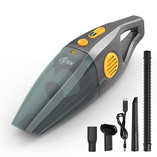 ICETEK 9000Pa Handstaubsauger Akku Beutellos Testsieger, Kabellos Autostaubsauger, 120W/2600mAh, Leistungsstark Tragbarer mit USB-Ladegerät, Nass und Trockensauger für Auto oder Haus