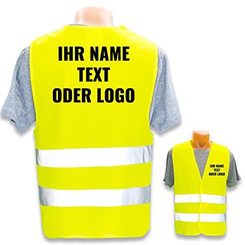Hochwertige Warnweste mit Leuchtstreifen * Bedruckt mit Name Text Bild Logo Firma * personalisiertes Design selbst gestalten, Farbe Warnweste:Gelb (XL/XXL), Druckposition:Rücken + Linke Brust