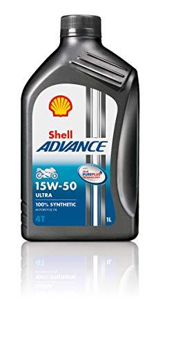 Shell–Advance 4T 15W50Ultra Pure Plus Technology–Öl für Motor 100% Kunststoff–1Liter