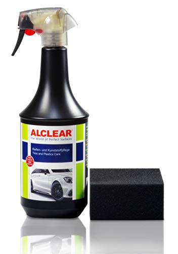 ALCLEAR 721RK Auto Reifenglanz Reifen-und Kunststoffpflege, Gummipflege, seidenmatt, 1.000 ml, mit Auftragsschwamm, schwarz
