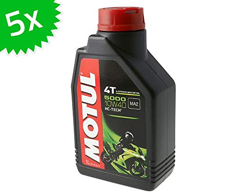 5X 1 Liter Motoröl MOTUL 4T 10W40 5000 5 Liter 4 Takt ÖL Oil OEL Roller Motorrad