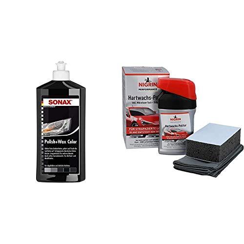 SONAX Polish & Wax Color schwarz (500 ml) Politur mit Farbpigmenten und Wachsanteilen | Art-Nr. 02961000 & NIGRIN 72971 Performance Hartwachs-Politur Turbo 300 ml
