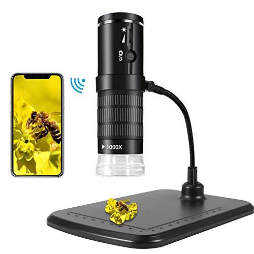 KNMY WiFi Mikroskop, 1080P USB Digital Mikroskop Kamera für Kinder, 8 LED WiFi Endoskopkamera 50X bis 1000X, 2MP 15M Ultra LongFocus Mini Handmikroskop für IOS Android PC Windows