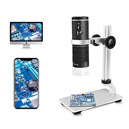 Jiusion WiFi USB-Digitalmikroskop HD Auflösung 50 bis 1000fache drahtlose Vergrößerung Endoskop 8 LED-Minikamera mit Standfuß Tragbare Tasche, kompatibel mit iOS Android Windows Mac