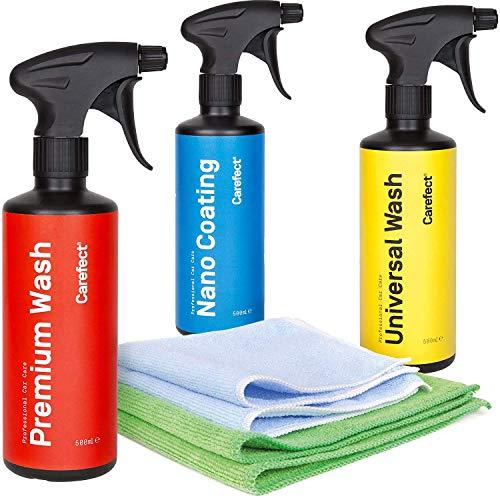 Media Chain Carefect Universal Wash Premium Wash Nano Coating 3er Set   Autoshampoo für Innen- und Außenbereich  Lackreiniger 500 ml   Professionelle Fahrzeugreinigung auf Wasserbasis
