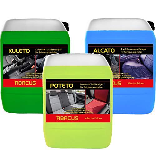 ABACUS Tornador Reiniger Set - 1x 5 Liter ALCATO + 1x 5 Liter KULETO + 1x 5 Liter POTETO - gebrauchsfertige Reiniger für Reinigungspistolen (7361)