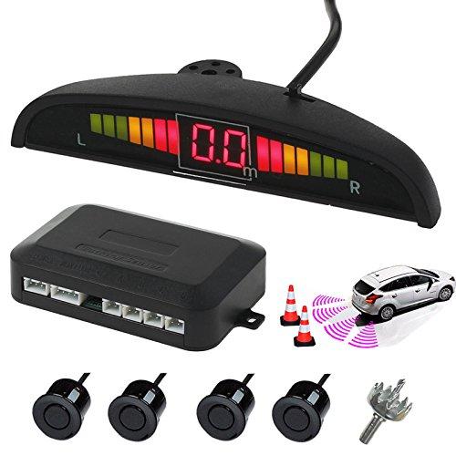 AUTOUTLET Einparkhilfe Parksensoren PDC Rückfahrwarner 4 Sensoren Universal Auto Rückwärtsparkhilfe Rückwärtsgang Audio Buzzer Alarm Kit LCD Display DC 12 V(schwarz)