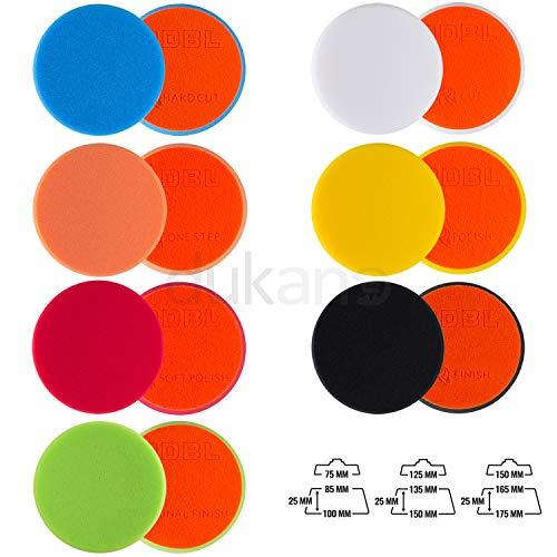 ADBL Polierpad Polierteller Polierschwamm mit Klettverschluss Profiqualität Ø 75mm (Orange/ONE Step)