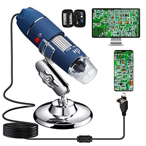 Bysameyee HD 2MP USB-Mikroskop, Digitalmikroskop-Inspektionsendoskop mit 40- bis 1000-facher Vergrößerung und Tragetasche, kompatibel mit Windows 7 8 10, Mac, Linux, OTG-Android-Handys