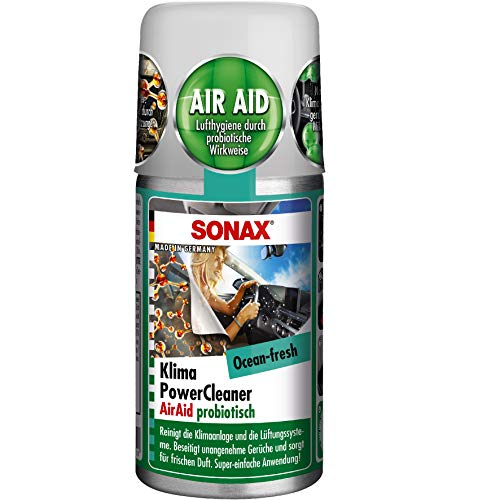 SONAX KlimaPowerCleaner AirAid probiotisch Ocean-Fresh (100 ml) sorgt schnell und einfach für langanhaltende Lufthygiene und befreit dauerhaft von lästigen Gerüchen   Art-Nr. 03236000