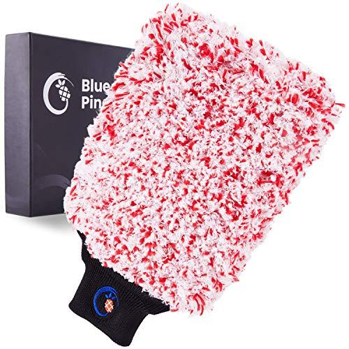 BLUE PINEAPPLE® Waschhandschuh Auto - Autowaschhandschuh für Perfekte Autopflege - Mikrofaser Handschuh/Felgenhandschuh/Auto Waschhandschuhe
