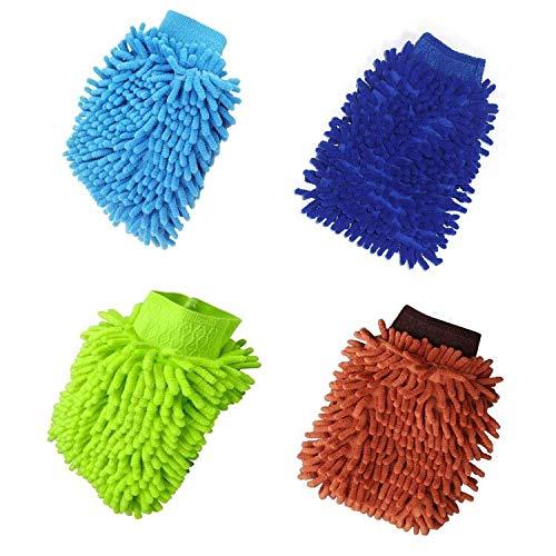 Waschhandschuh Auto, 4 Stücke, Mikrofaser Autowaschhandschuh, Mikrofaser Handschuh, Chenille Waschhandschuh Handschuh für Autowäsche und Autopflege