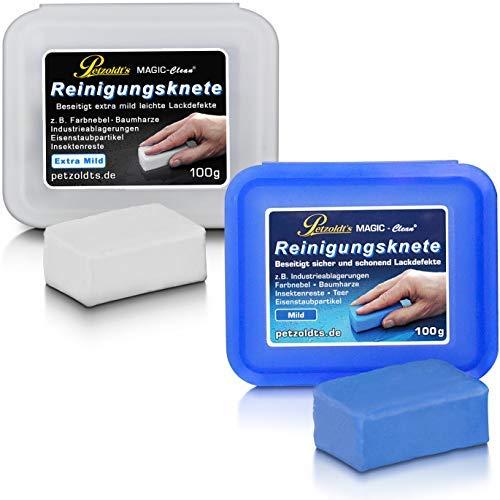 Petzoldt's 2 x 100 g Reinigungsknete, Extra mild & Mild, zur Lackreinigung nach der Autowäsche, vor Politur, Coating- oder Wachsauftrag, Lackversiegelung, Fahrzeugfolierung, Car Wrapping
