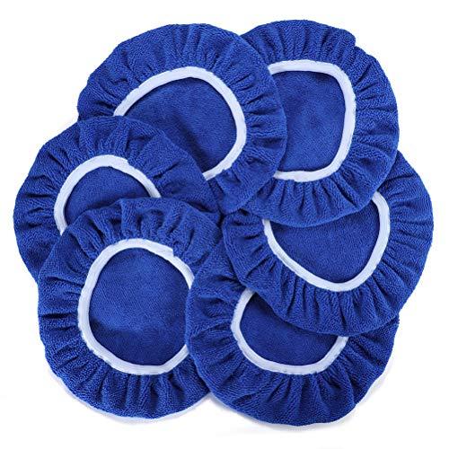 AUTDER 125mm-150mm Mikrofaser Polierpad, 6 Stücke Polierhauben Set, Polierfell für Auto Poliermaschine- Blau MEHRWEG