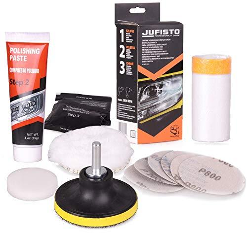 Jufisto Scheinwerfer Polierset MEGA Set zur Politur/Restaurierung/Renovierung von Autolampen Bohrmaschine Akkuschrauber Aufsatz/Adapter Lampe Autoscheinwerfer Scheinwerfer Lichter