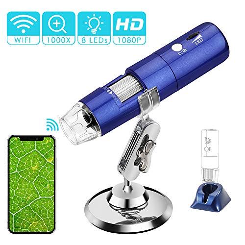 ROTEK USB WiFi Mikroskop, Digital Mikroskop 2 MP Kinder Mikroskop Kamera 1000X Zoom 1080P Full HD mit 8 LED, Mini Mikroskop für Kinder für Handy iPhone ios Android ipad PC Windows, Mac