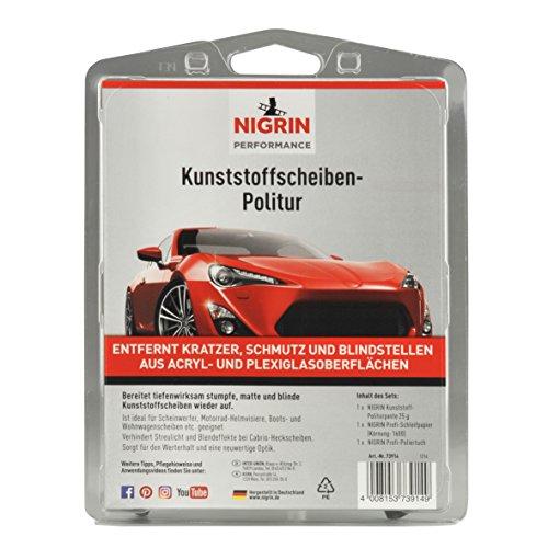 NIGRIN 73914 RepairTec Acryl-und Plexiglas Politur-Set: 1 x Kunststoff-Politurpast, 1 x Schleifpapier, 1 x Poliertuch