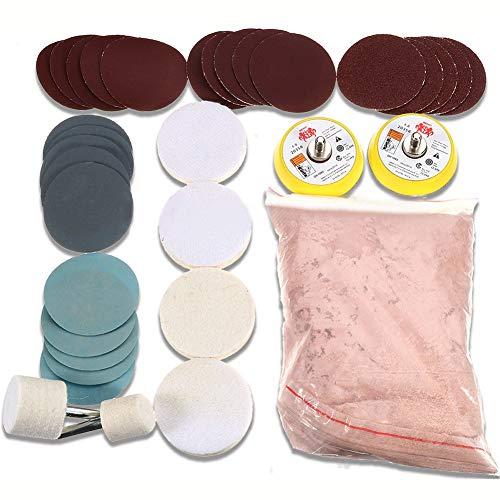 34-teiliges Glaspolitur-Set zum Entfernen von tiefen Kratzern 8 oz 230 g Ceriumoxid-Pulver und Polierpads, Schleifscheibe, 50 mm