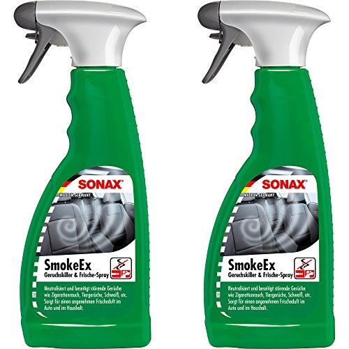 SONAX PRAKTISCHES Set! 2 x 500 ml Smoke Ex Geruchskiller Frische-Spray Raumspray Geruchsentferner Geruchsneutralisierer + PRAKTISCHES POLSTERTUCH