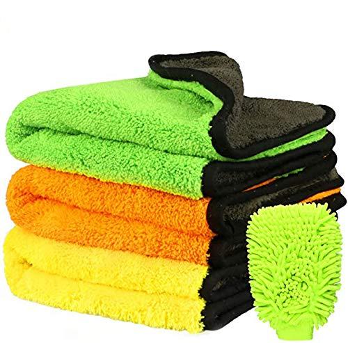 Fixget Auto Trockentuch, 3er Set Auto Wasch Microfaser Trockentücher Handtuch Trocknen Reinigungstücher perfekt für Auto waschen & Lackieren-43 * 38cm, 840 GSM