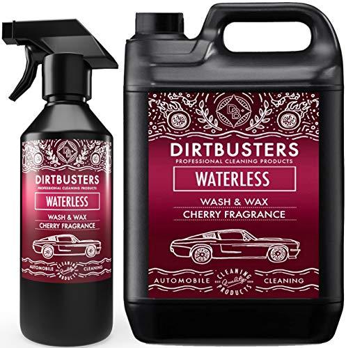 Dirtbusters Trockenreiniger für die professionelle Autowäsche - sicher, ungiftig, mit hochglänzendem Wachsfinish & Kirschduft - 5 l + 500 ml Sprühspender