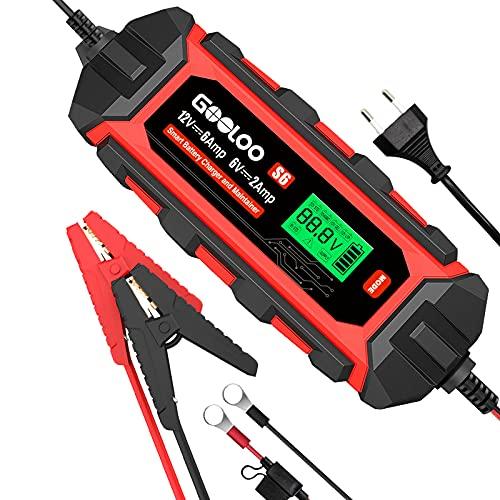 GOOLOO S6, 6A Autobatterieladegerät, 6V/12V Vollautomatisches Batterieladegerät, IP65, Wasserdichtes, Erhaltungsladegerät und Batterieaufbereiter für Auto, Motorräder, LKW, KFZ, Boot and Wohnwagen