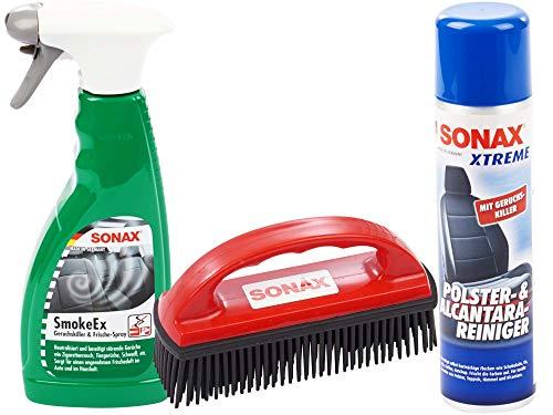 SONAX-SET mit 1 x Sonax Spezialbürste zur Entfernung von Tierhaaren + 1 x Sonax Smoke Ex Geruchskiller und Frischespray, 500ml + 1 x Sonax Xtreme Polster- und Alcantarareiniger, 400ml