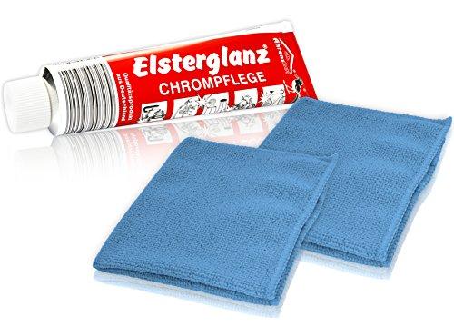 Helmecke & Hoffmann * Elsterglanz Chrom-Pflege XXL-Tube 150 ml + Zwei Mikrofaser-Tücher   Das Original aus Deutschland