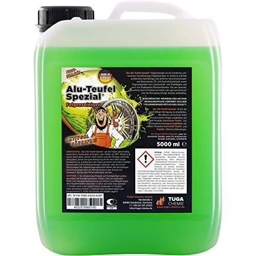 TUGA Chemie 0 Alu-Teufel Spezial Felgenreiniger Aktiv-Gel für glänzende Alufelgen dank säurefreier Schmutzentfernung 1l & 5l Made in Germany
