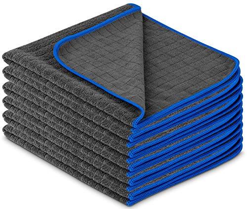 Carbigo® Profi Mikrofasertücher mit 380 GSM – Extrem saugstark & lackschonend dank weicher Mikrofaser – Fusselfreie Poliertücher zur Reinigung von Auto und Motorrad – Mikrofasertücher Auto 40x40cm (6)