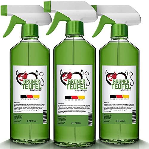 Grüner Teufel – Enzymreiniger (3 Flasche je 500 ml)   Teppichreiniger, Küchenreiniger - Polsterreiniger – Allzweckreiniger   Ideal für Sofa, Auto, Sitze, Polster