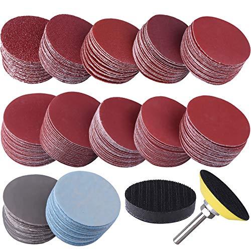 SIQUK 300 Stück Schleifpapier Klett 50mm Körnung je 80 180 240 320 400 600 800 1000 2000 3000 mit 1 Stück Polierpad Adapter