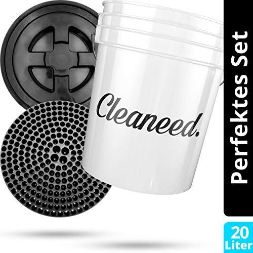 Cleaneed Premium Autowasch-Set: Wascheimer [20 Liter] + Dirt Guard (Schmutz-Filter) + Eimerverschluss – Extra robust & langlebig - Perfekt auch als Hocker - Trennt Schmutz vom sauberen Wasser