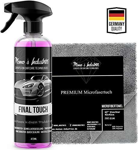 Momo's Industries® Final Touch Premium Lack Schnellversiegelung Wachsspray inkl. Microfasertuch - Auto Glanzbooster - Sprühwachs
