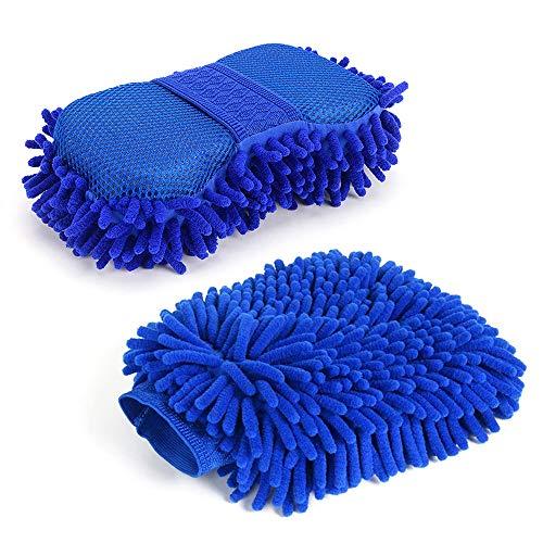 SteelFever 2-teiliges Auto-Reinigungsset, Mikrofaser-Chenille-Reinigungsschwamm, integrierte Handschlaufe und Auto-Waschhandschuh.