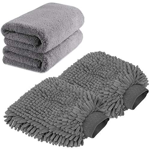 TAGVO Große Auto-Waschhandschuh und Mikrofaser-Reinigungstüch - Deluxe Koralle Chenille-Handschuh-Poliertücher Perfekt für Küche - Autowäsche & Farbe (2X Tücher + 2X Handschuh)