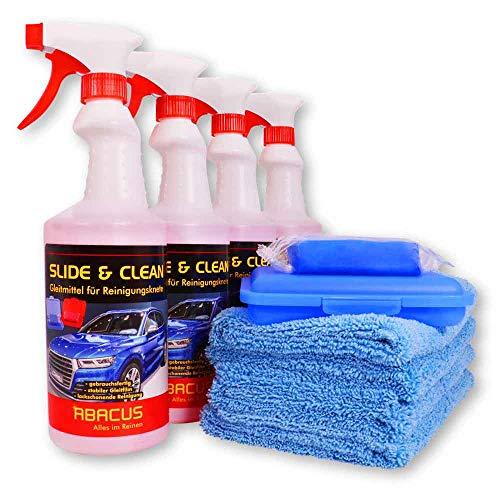 ABACUS Reinigungsknete blau mittelstark mit 4X Gleitmittel Slide & CLEAN und 4X Tüchern (7313)