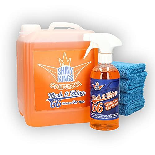 Shinykings Wash&Shine 66 WASSERLOSER Auto Reiniger   Pflege und Schutz inkl. Glanzeffekt für Lack, Chrom-, Alufelgen   5,5 l mit 4 Mikrofasertüchern   umweltfreundlich und biologisch abbaubar