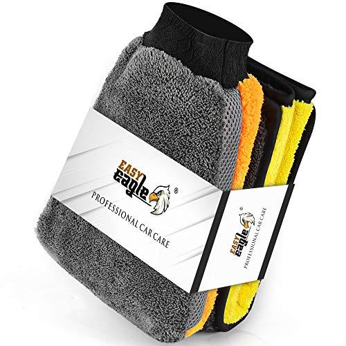 EASY EAGLE Mikrofasertücher Autowaschhandschuh Tücher Set, 1200GSM Trockentuch+Waschhandschuh für Auto & Motorrad Pflege