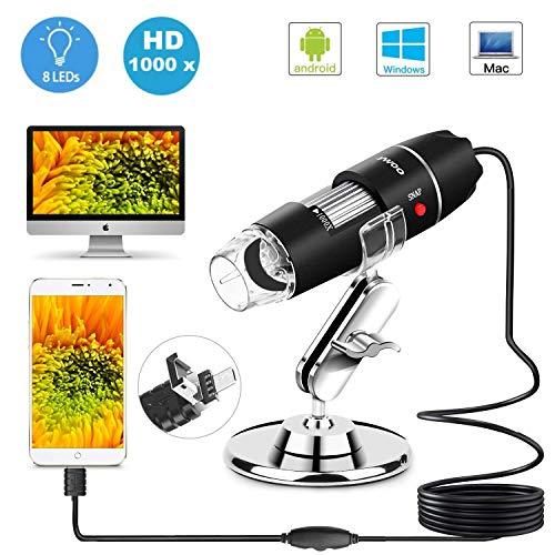 USB-Mikroskop, 1.000x Zoom, 8 LEDs, USB 2.0, digitale Mini-Mikroskop-Kamera mit OTG-Adapter und Metallständer, kompatibel für Android, Mac, Windows, Linux