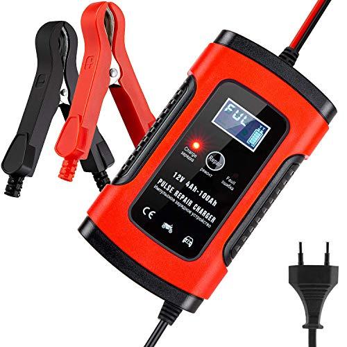 BUDDYGO Batterie Ladegerät Auto, Autobatterie Ladegerät, 6A 12V Vollautomatisches Batterieladegerät Auto Erhaltungsladegerät mit LCD Mehrfachschutz für Autobatterie, Motorrad, Rasenmäher oder Boot