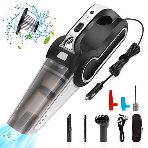 AOMEES Handstaubsauger 75dB autostaubsauger mit LED licht DC12V/120W staubsauger ohne Beutel Nass- und Trockensauger für Auto und Hausreinigung