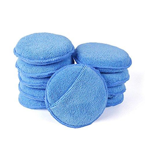 Microfaser Wachs Applikator, AutoCare Ultra Soft Microfaser Wachs Applikator Pads Mit Fingertaschen Wachs Applikator Für Autos Wachs Applikator Schaumschwamm (Blau, 5 'Durchmesser, 10er-Pack)